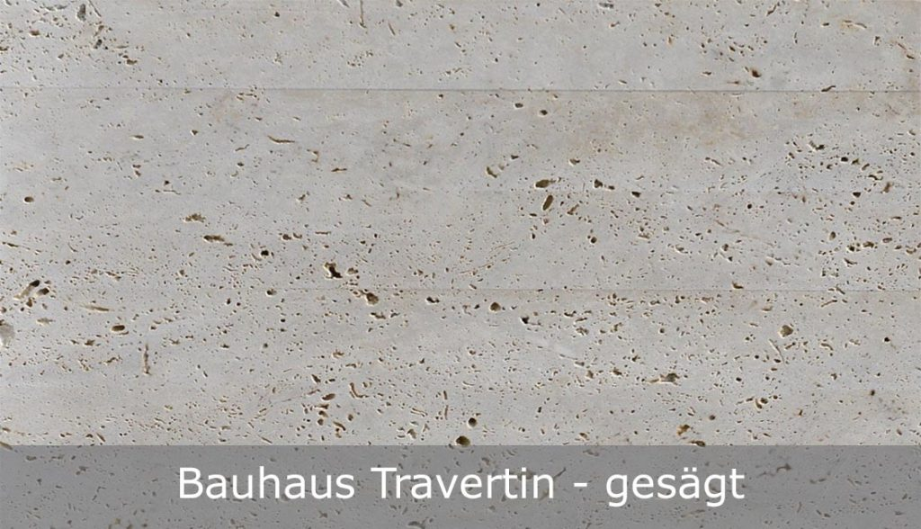 Bauhaus Travertin mit gesägter Oberfläche