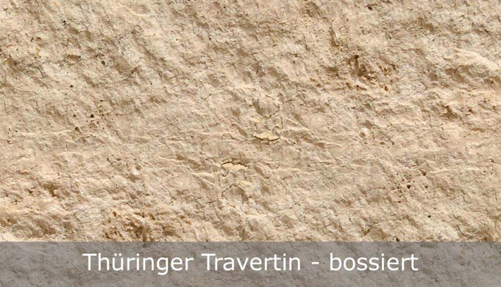 Thüringer Travertin mit bossierter Oberfläche