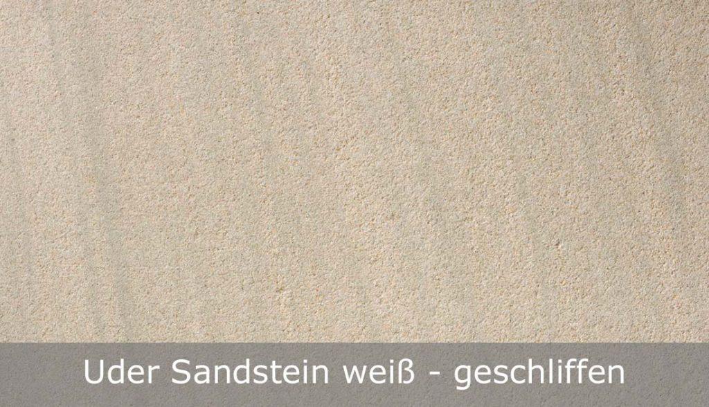 Uder Sandstein weiß mit geschliffener Oberfläche