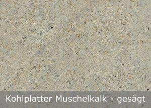 Kohlplatter Muschelkalk mit gesägter Oberfläche