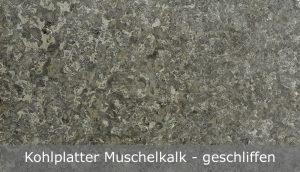 Kohlplatter Muschelkalk mit geschliffener Oberfläche