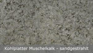 Kohlplatter Muschelkalk mit sandgestrahlter Oberfläche