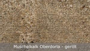 Muschelkalk Oberdorla mit gerillter Oberfläche