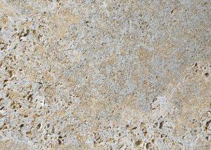 Detailansicht TRACO Naturstein Muschelkalk Oberdorla grau mit geschliffener Oberfläche