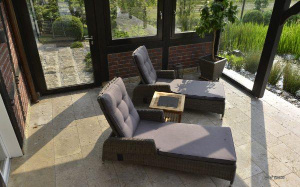 Terrassenplatten aus beigem Travertin Bauhaus und Travertin Thüringen von TRACO
