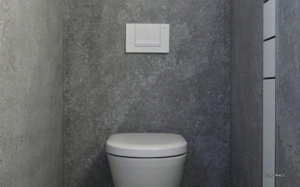 Gestaltung eines Badezimmers einer Villa mit Boden- und Wandplatten aus edelgrauen Kalkstein Edelgrau von TRACO