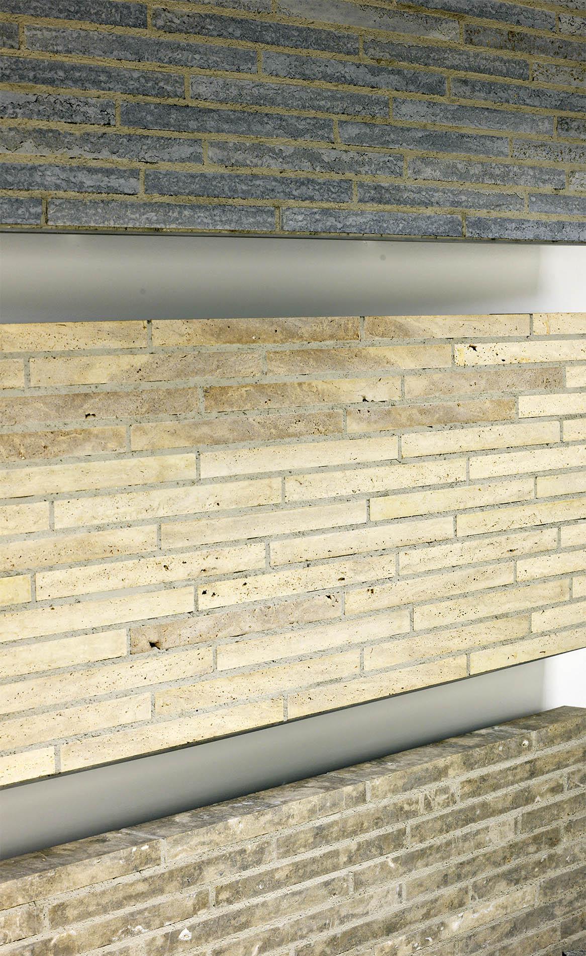 TRACO Cube Riegel® aus Kohlplatter Muschkalk edelgrau ,Limes Dolomit® und Bauhaus Travertin