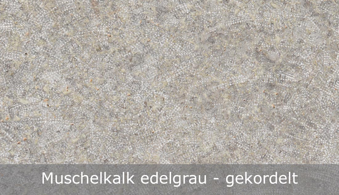 Muschelkalk edelgrau mit gekordelter Oberfläche