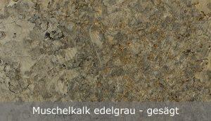 Muschelkalk edelgrau mit gesägter Oberfläche