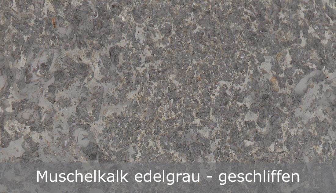 Muschelkalk edelgrau mit geschliffener Oberfläche