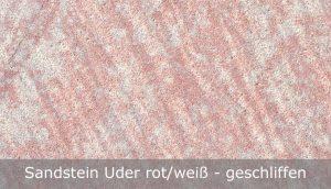 Sandstein Uder rot-weiß mit geschliffener Oberfläche