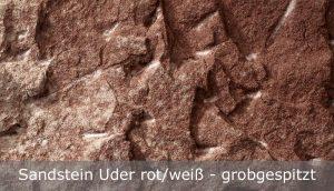 Sandstein Uder rot-weiß mit grobgespitzter Oberfläche