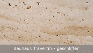 Bauhaus Travertin mit geschliffener Oberfläche