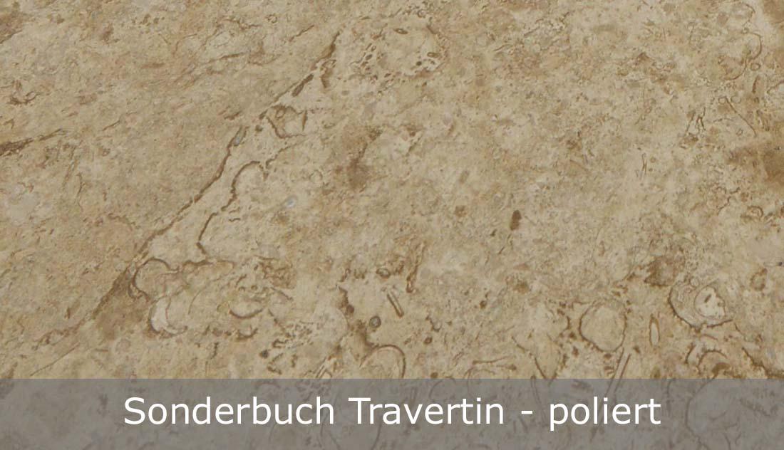 Sonderbuch Travertin mit polierter Oberfläche