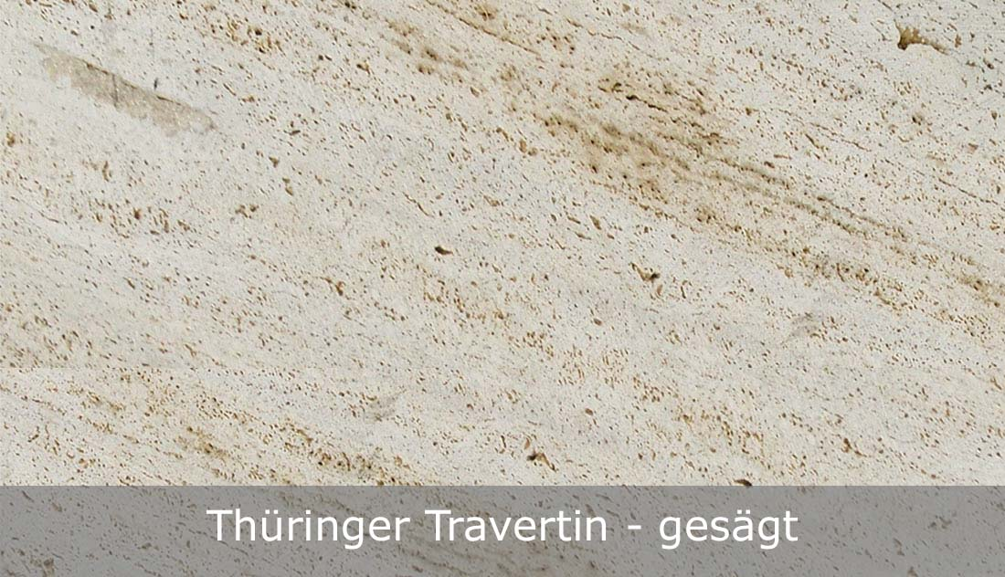 Thüringer Travertin mit gesägter Oberfläche