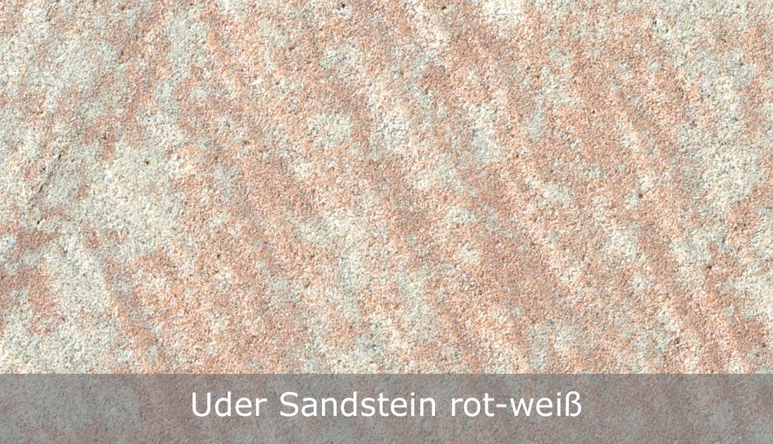 Uder Sandstein rot-weiß - geschliffene Oberfläche